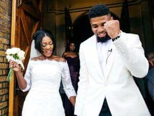 Ariel Mofondo and Angella on their wedding day