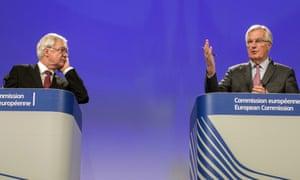 Michel Barnier, the EU's chief Brexit negotiator (right), and David Davis, the Brexit secretary.