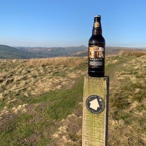 Bottle or Ramber ale on a walk signpost Wincle Beer Festival