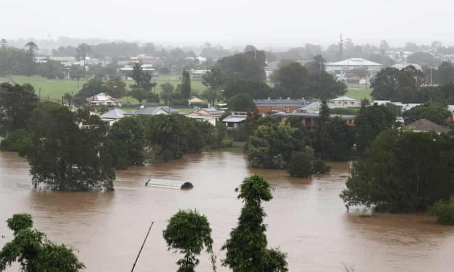 The flooded Macleay River in Kempsey on the mid-north west coast of NSW which has been hit by multiple disasters.