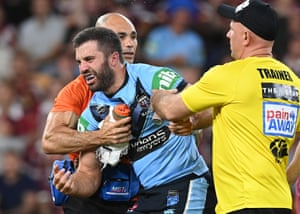 James Tedesco heads off the pitch