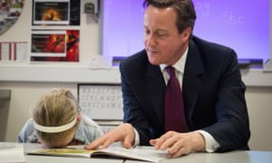 Prime minister David Cameron meets six-year-old Lucy Howarth on the campaign trail at Sacred Heart primary school in Westhoughton, near Bolton, on Wednesday.