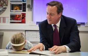 David Cameron at the Sacred Heart Roman Catholic Primary School in Westhoughton near Bolton with  Lucy Howarth