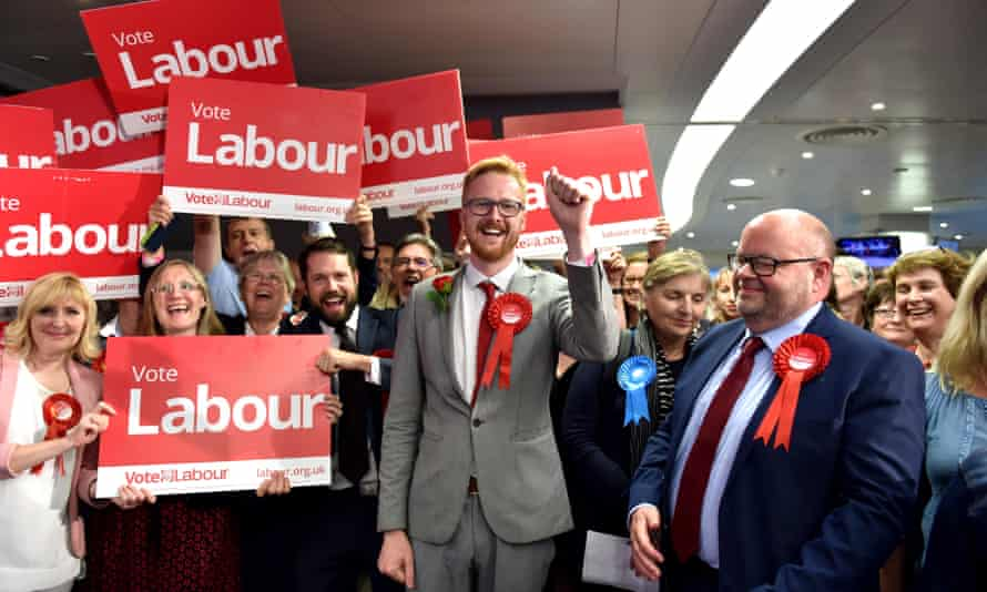Lloyd Russell-Moyle celebrates winning the Brighton Kemptown seat