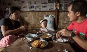 Family meal in Myanmar