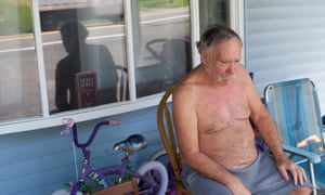 Northampton County resident Russell Frantz cools off on the porch.