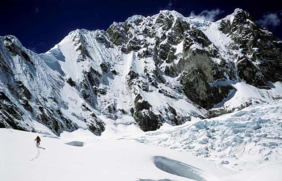 Shot of Peru snow-covered mountains in Touching the Void, 2003.