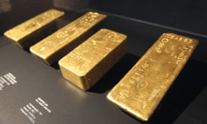 """Gold bars at the Exhibition """"Gold, Treasures at the Deutsche Bundesbank"""" at the German Money Museum of the Deutsche Bundesbank in Frankfurt am Main, Germany."""