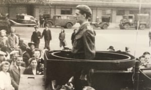 Derek Findley leading the parade in his artillery vehicle after the liberation of Ghent, Belgium, in 1944