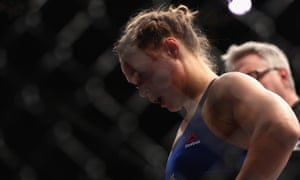 Ronda Rousey reacts to her loss to Amanda Nunes.