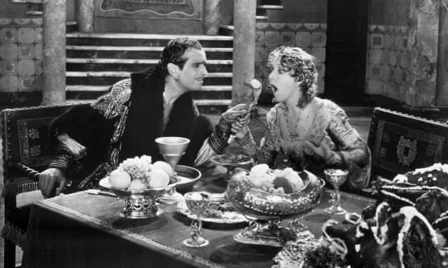 Mary and Doug tuck in … Douglas Fairbanks and Mary Pickford in The Taming of the Shrew, 1929.