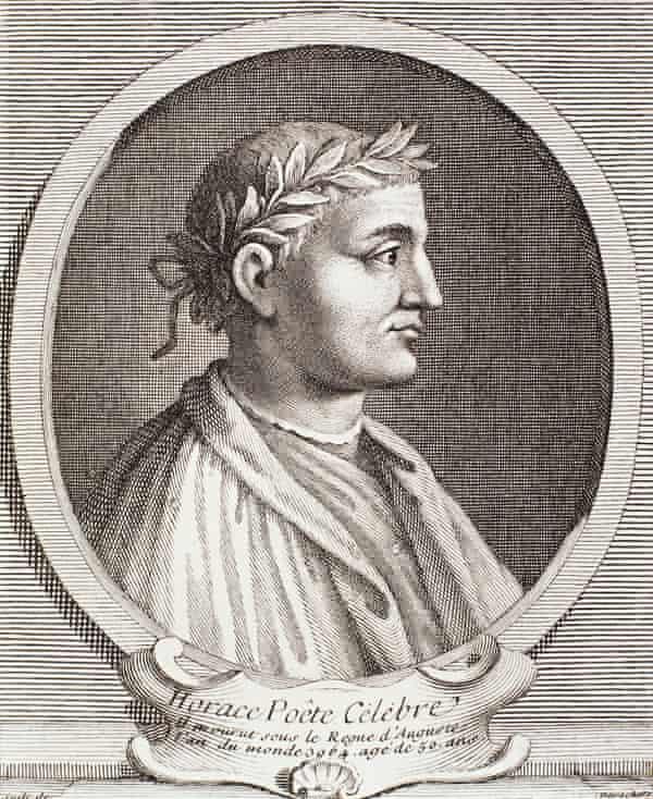 Portrait of Horace, Roman poet. Engraving by Desvochers, 1740.