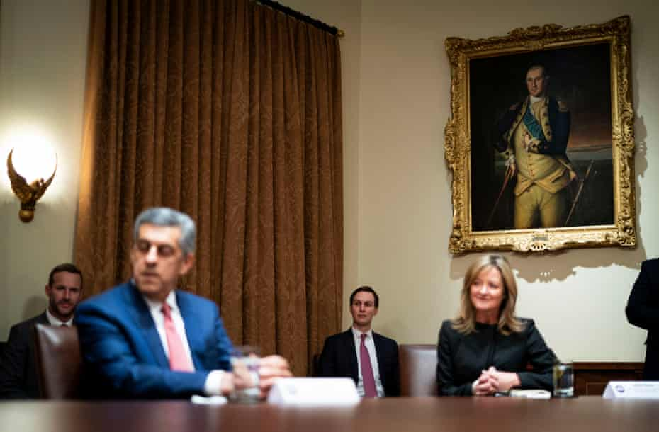 """Senior Advisor to the President Jared Kushner (3rd L) looks on as President Donald Trump holds a meeting with healthcare executives in the Cabinet Room of the White House April 14, 2020 in Washington, D.C. Earlier in the day Trump met with people who had recovered from the coronavirus. During the April 13 Coronavirus Task Force briefing, Trump said the president had """"total authority"""" to reopen the U.S. economy."""