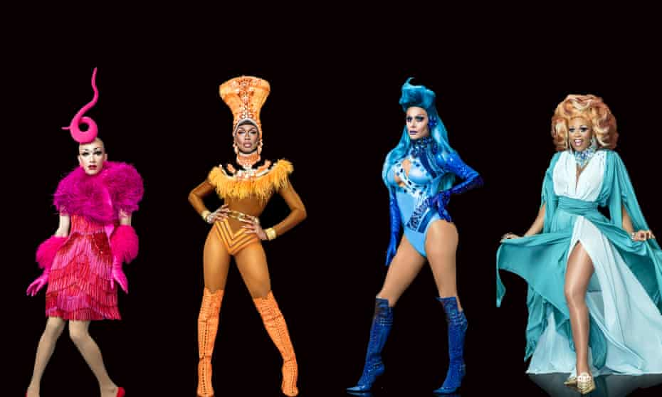 Glitter and flair … the 2017 Rupaul's Drag Race finalists (from left) Sasha Velour, Shea Couleé, Trinity Taylor and Peppermint.