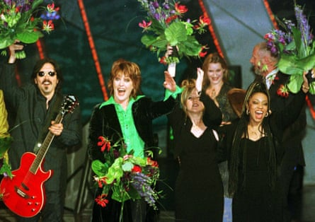 Eurovision gold … Katrina and the WAves celebrate their win in 1997.