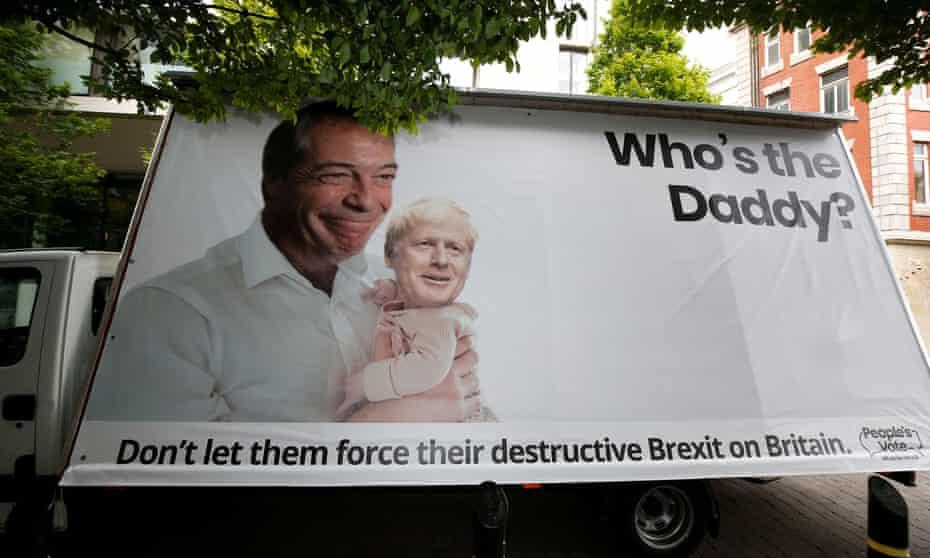 Banner outside Tory leadership hustings