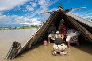 Flooding in Lalmonirhat, Bangladesh sparked by heavy seasonal rains and an onrush of water from hills across the Indian borders
