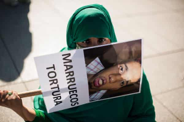 A Sahrawi woman demonstrates against the occupation of Western Sahara in Pamplona, Spain, on 27 February.