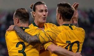 Adam Taggart celebrates his winner with Socceroos teammates