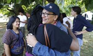"""US Democratic Representative for Michigan's 13th congressional district Rashida Tlaib greets supporters as she attends """"Shabbat in the Park"""" event with pro BDS (Boycott, Divestment and Sanctions) group on August 16, 2019 in Pallister Park in Detroit, Michigan. - Palestinian-American lawmaker Rashida Tlaib today turned down Israel's offer to let her visit her grandmother in the occupied West Bank, owing to restrictions she termed oppressive. (Photo by Jeff KOWALSKY / AFP)JEFF KOWALSKY/AFP/Getty Images"""