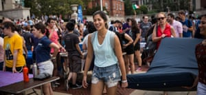New York, September 2014: Columbia student Emma Sulkowicz drags a mattress in protest over the university's ruling in a sexual assault complaint she filed against another student.