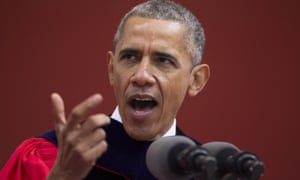 Barack Obama speaks during Rutgers University's 250th anniversary commencement ceremony.