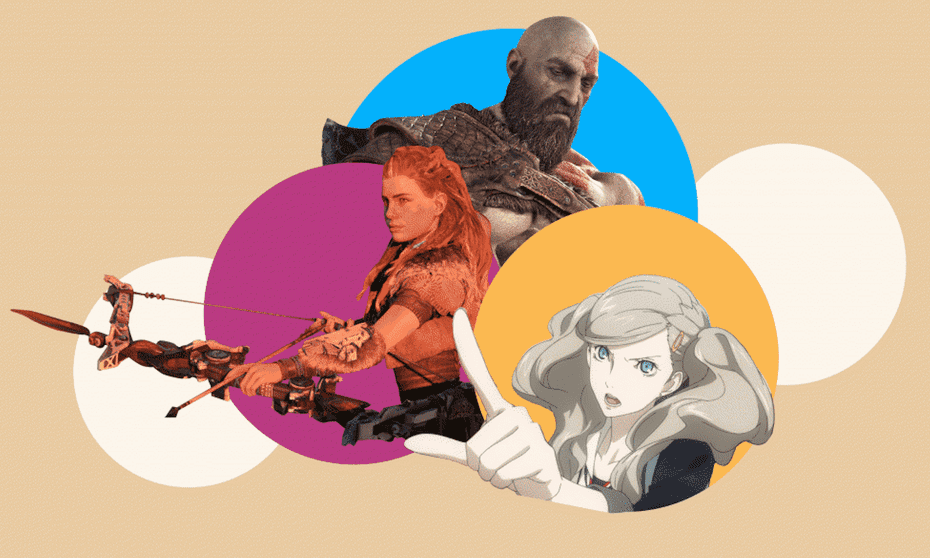 Clockwise from left: Horizon: Zero Dawn's Aloy, God of War's Kratos, Persona 5's Ann