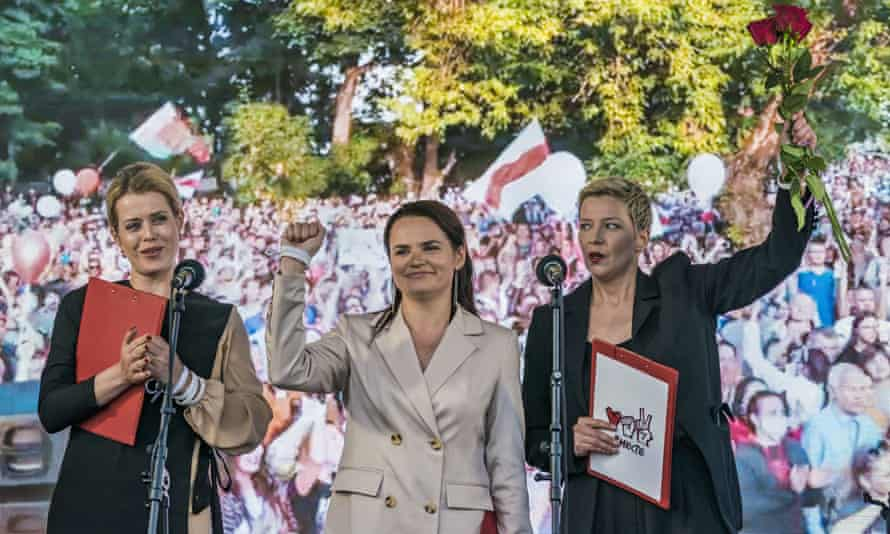 Svetlana Tikhanovskaya, Valeria Sepkalo and Maria Kolesnikova