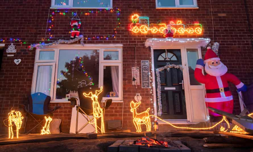 Christmas decorations outside a home in Manchester