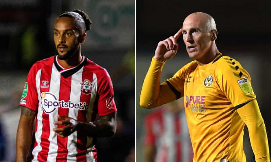 Southampton's Theo Walcott and Kevin Ellison of Newport County met each other 16 years after they first faced off as rivals.