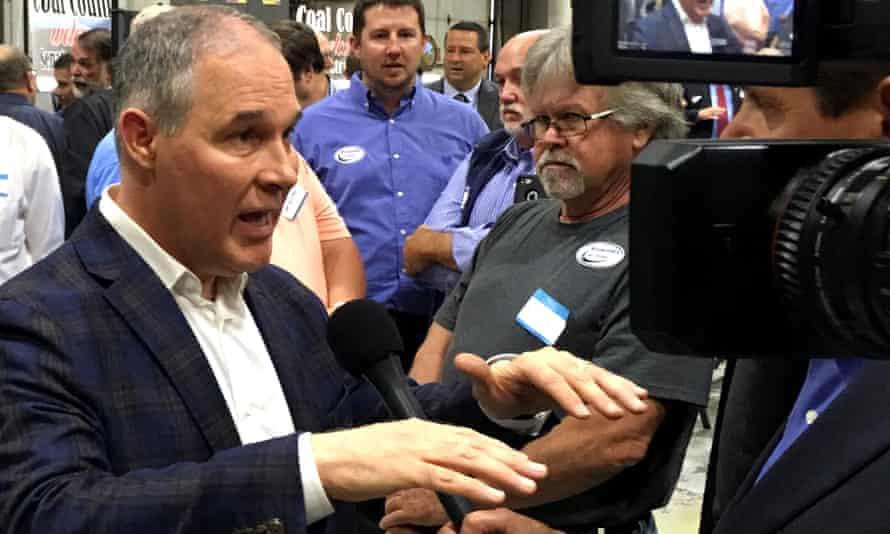 EPA administrator Scott Pruitt talks to a reporter after speaking at Whayne Supply in Hazard, Kentucky.