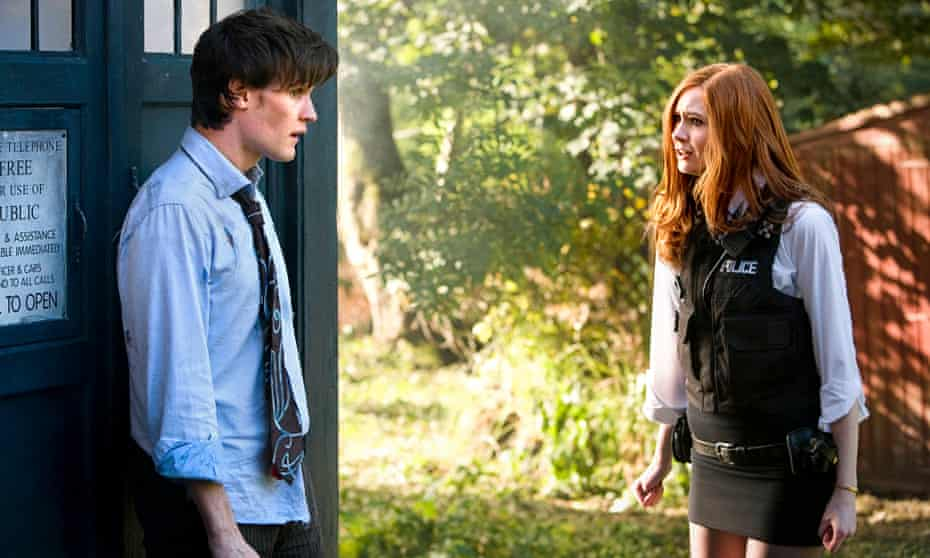 Gillan as Amy Pond, with Matt Smith, in Doctor Who in 2010.