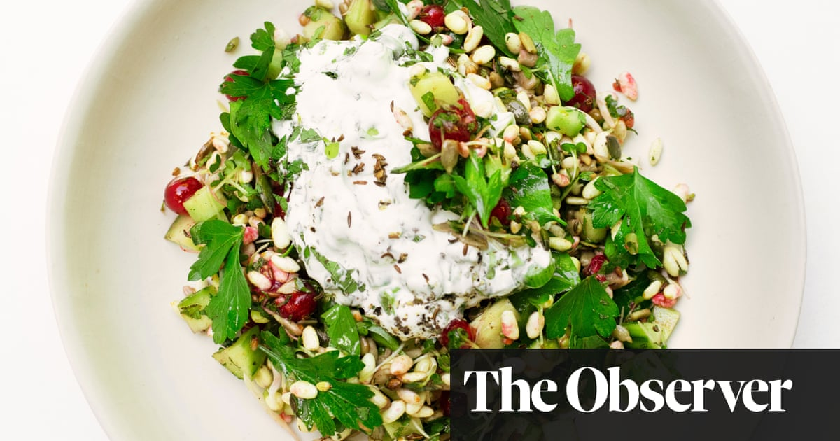 Nigel Slater's puffed rice with redcurrants and cucumber recipe