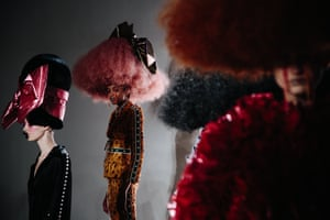 Models present creations from designers Laurence & Chico during New York fashion week.