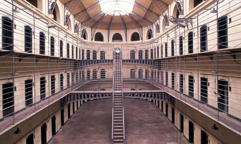 Interior shot of cells looking down onto a main yard area at Kilmainham Gaol, Dublin, Ireland.