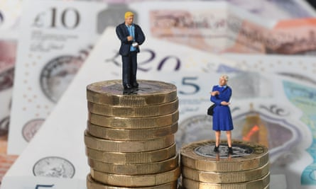 Models of a man and woman on a pile of coins and bank notes.