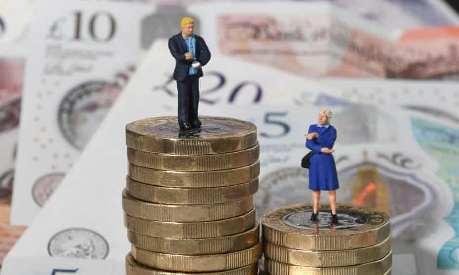 Models of a man and a woman on piles of coins in front of banknotes