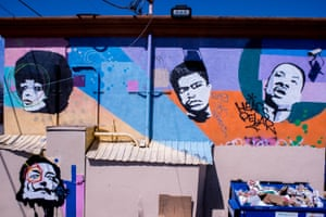 Angela Davis, Martin Luther King Jr and Muhammad Ali, Discount Beauty Supply, West Manchester Avenue at Hoover, Los Angeles, 2018