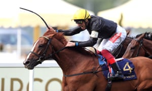 Stradivarius, ridden by Frankie Dettori, wins the Gold Cup at Royal Ascot.