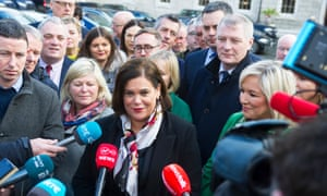 Sinn Fein leader Mary Lou McDonald, centre.
