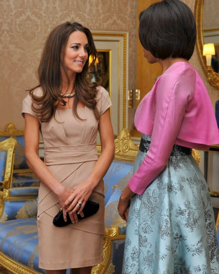 The Duchess of Cambridge wears a Reiss dress as she meets Michelle Obama at Buckingham Palace in 2011.