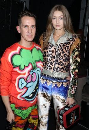 Jeremy scott and Gigi Hadid at his AW17 fashion show