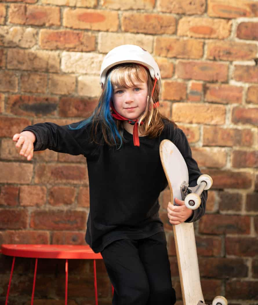 Eight-year-old Mac Morrice is a skateboarder from Scotland who has been skating for over 5 years, she is part of a new generation of young girls taking up skateboarding thanks to the influence of Sky Brown and the wider female skate scene.