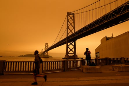 Wildfires turned the sky over the San Francisco Bay Bridge orange this summer, the hottest on record in the northern hemisphere.