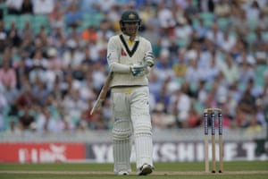 Michael Clarke walks from the ground in his last test after being dismissed by Ben Stokes.
