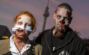 People take part in a zombie walk during Halloween celebrations in Berlin, Germany.