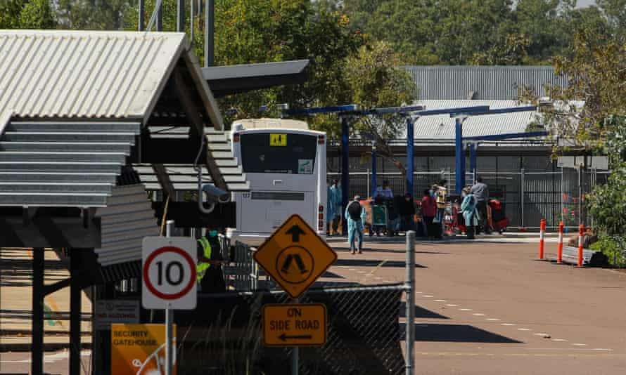 Passengers from a repatriation flight from India are transported to the Howard Springs in Darwin, Australia