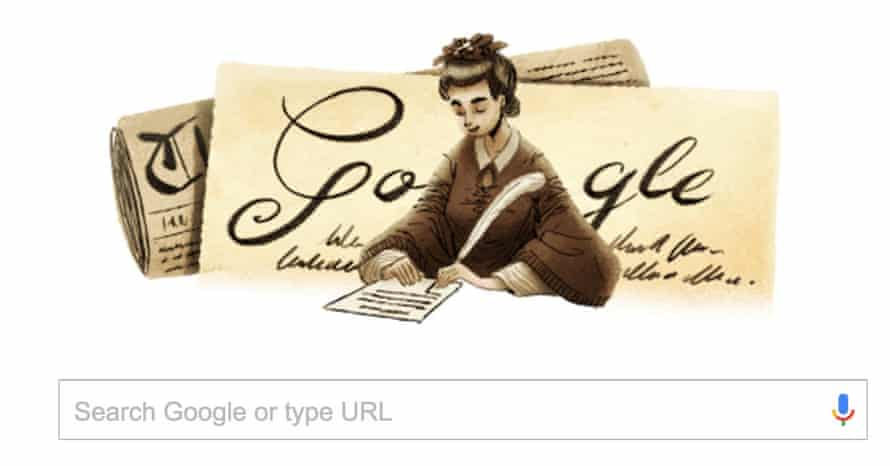 The Google doodle honouring Henrietta Augusta Dugdale, who became the first Australian woman to publicly call for women's equality with a letter published in Melbourne's Argus newspaper