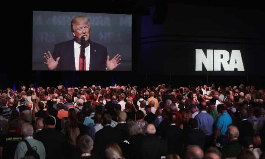 Trump speaks at the NRA's Leadership Forum in Atlanta in April 2017.