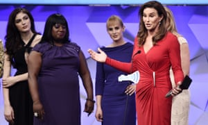 Caitlyn Jenner accepts the outstanding reality series award during the 27th Glaad media awards.